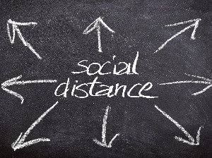 Social distance written on blackboard