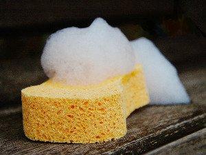 sponge and bubbles