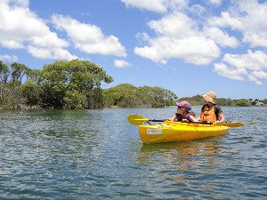 Mother and daughter in kayak